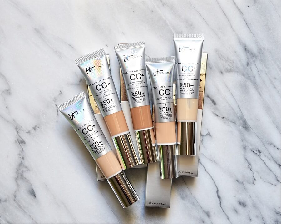 several tubes of cc cream from it cosmetics