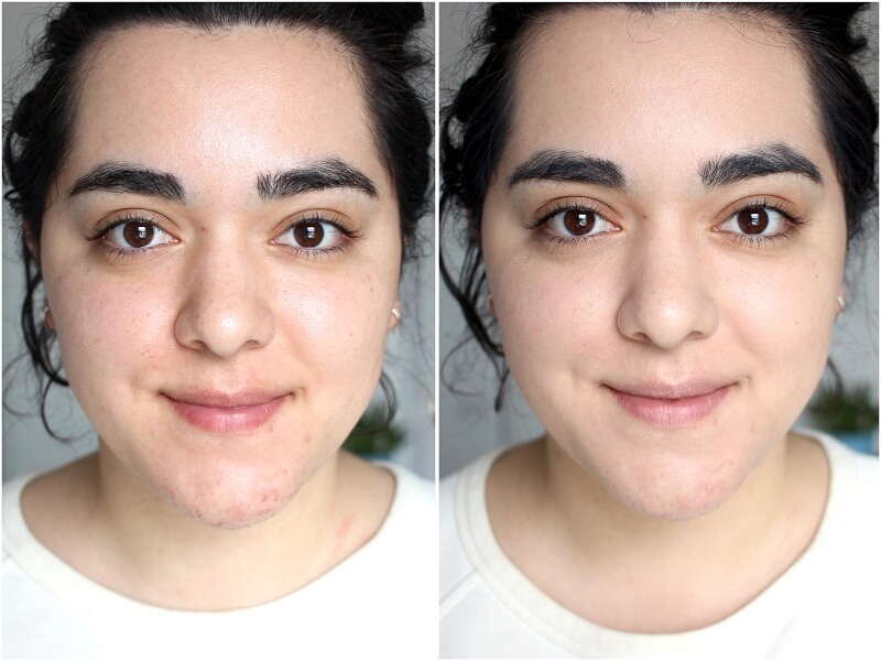 before and after pictures of a woman who used a bb cream