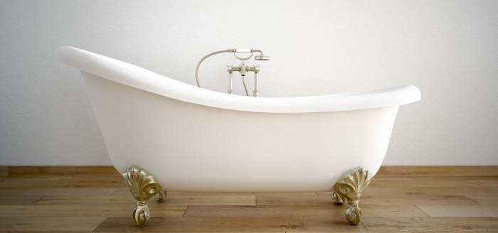 Vintage bath tube in a room with white wall. 3d rendering Vintage bath tube in a room with white walls