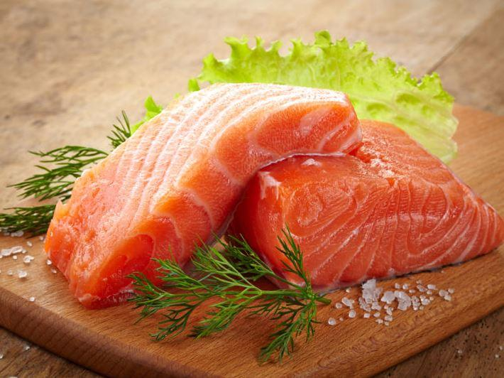 Salmon, one of the foods high in hyaluronic acid