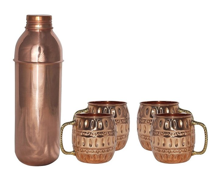 copper thermos and mugs